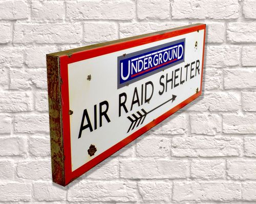 Air Raid Shelter Rusty Metal Sign 20cm x 56cm